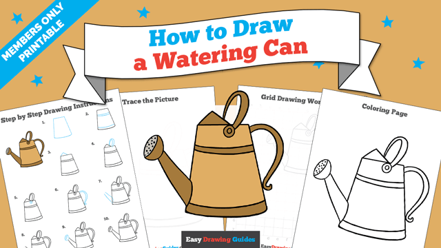 download a printable PDF of Watering Can drawing tutorial