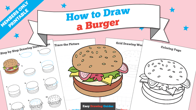 download a printable PDF of Burger drawing tutorial