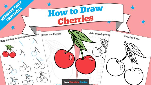 download a printable PDF of Cherries drawing tutorial