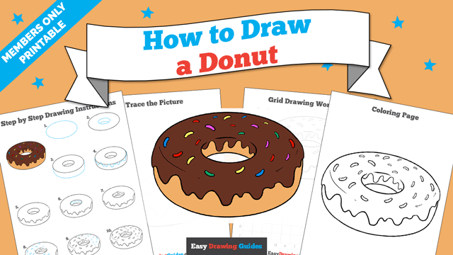 download a printable PDF of Donut drawing tutorial