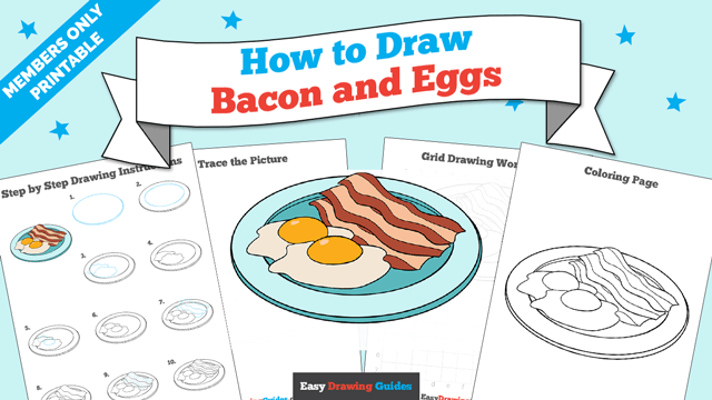 Printables thumbnail: How to draw Bacon and Eggs