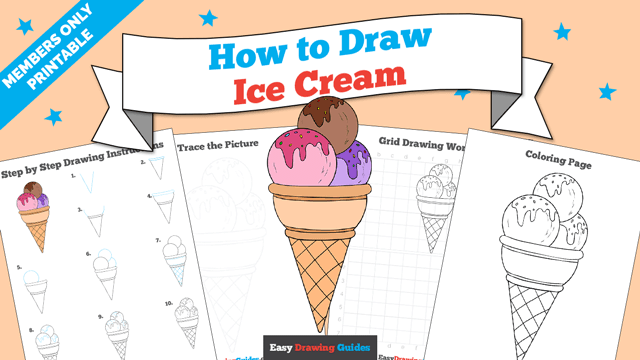 download a printable PDF of Ice Cream drawing tutorial