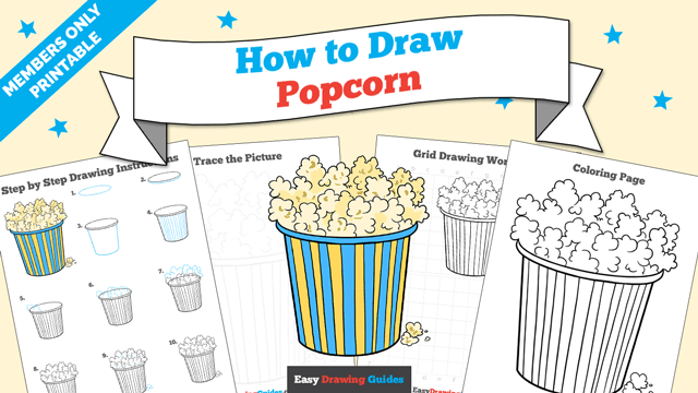 download a printable PDF of Popcorn drawing tutorial