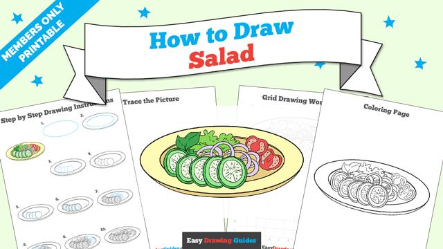 download a printable PDF of Salad drawing tutorial