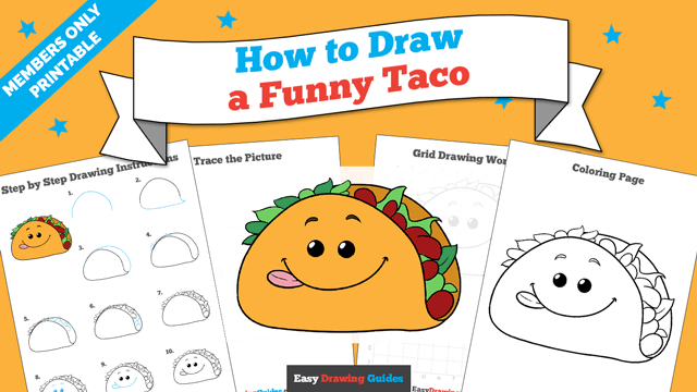 download a printable PDF of Funny Taco drawing tutorial
