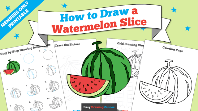 download a printable PDF of Watermelon Slice drawing tutorial