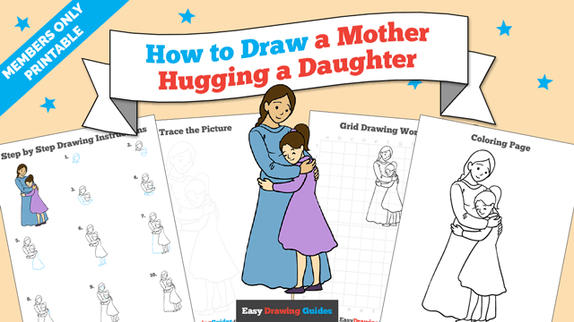 download a printable PDF of Mother Hugging a Daughter drawing tutorial