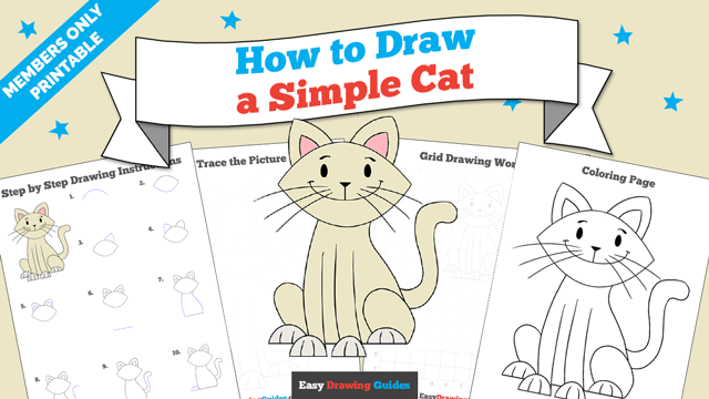 download a printable PDF of Simple Cat drawing tutorial
