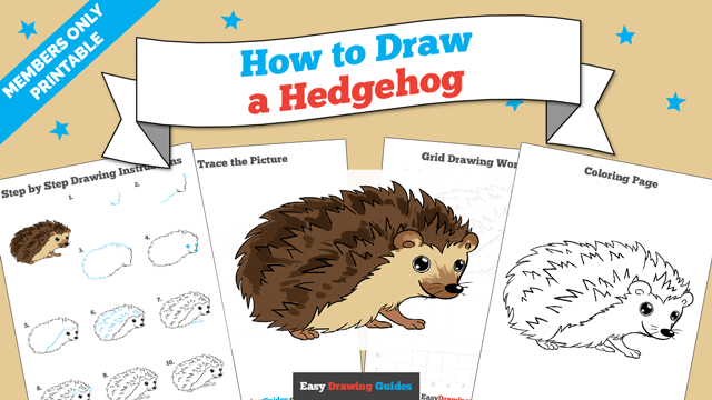 Printables thumbnail: How to draw a Hedgehog