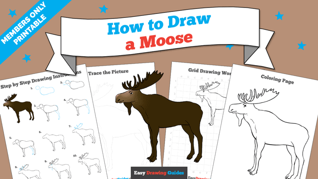 Printables thumbnail: How to draw a Moose