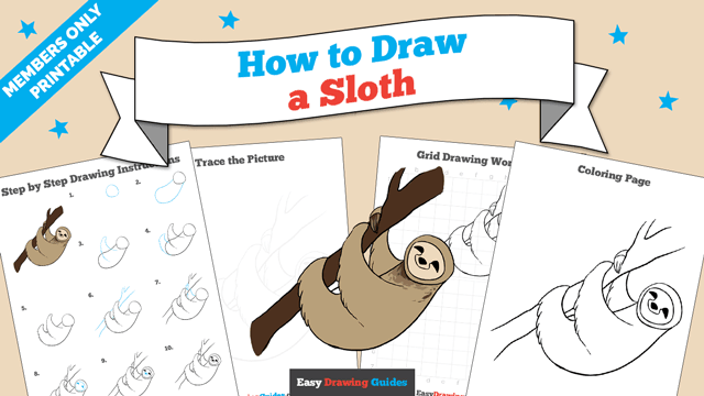 download a printable PDF of Sloth drawing tutorial