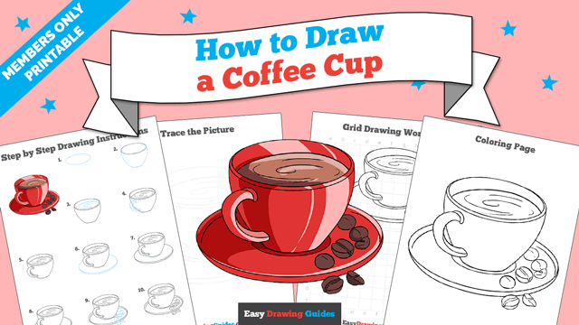 download a printable PDF of Coffee Cup drawing tutorial