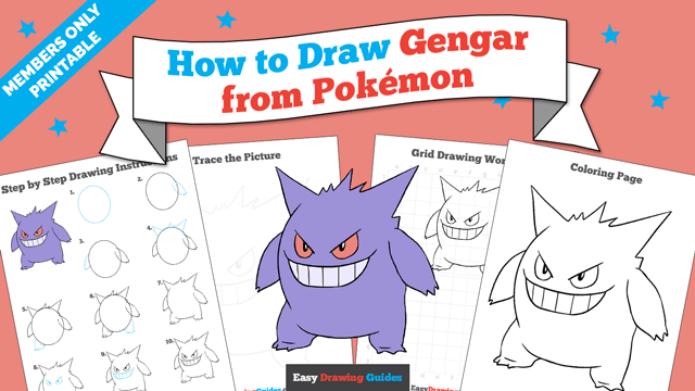 download a printable PDF of Gengar drawing tutorial