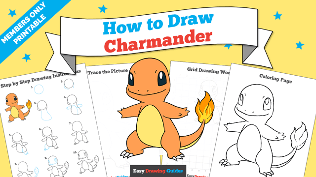 download a printable PDF of Charmander drawing tutorial