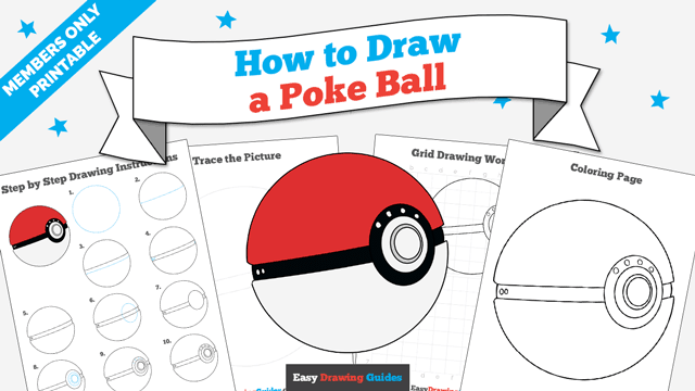 Printables thumbnail: How to draw a Poke Ball