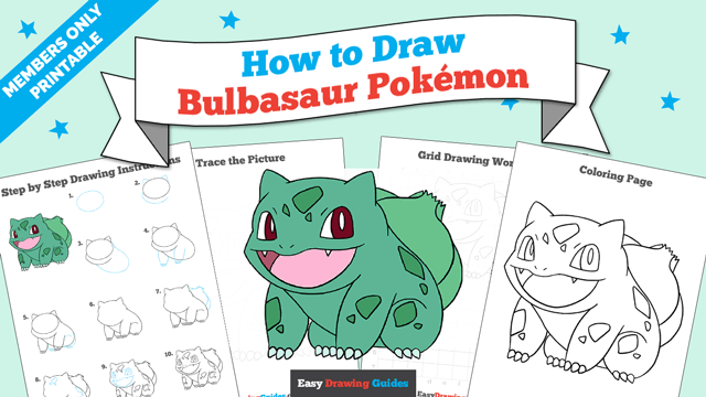 download a printable PDF of Bulbasaur drawing tutorial