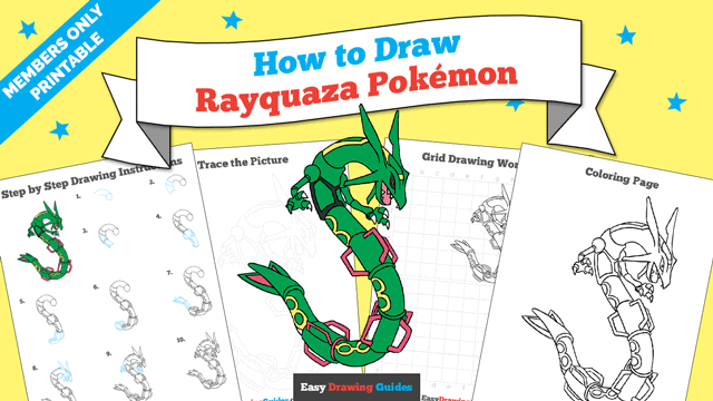 download a printable PDF of Rayquaza drawing tutorial