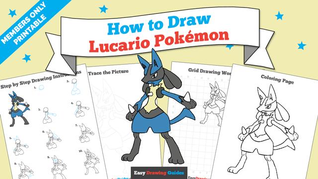 Printables thumbnail: How to draw Lucario Pokemon
