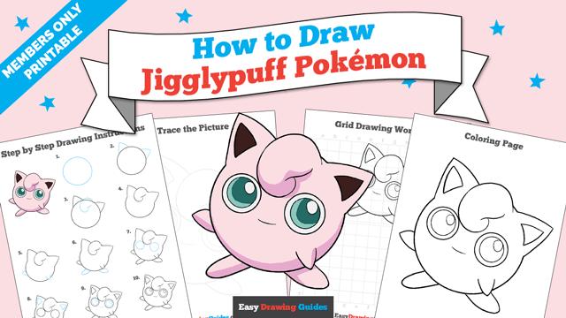 Printables thumbnail: How to draw Jigglypuff Pokemon