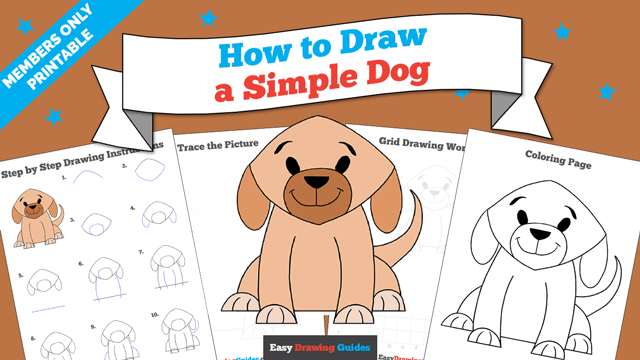 download a printable PDF of Simple Dog drawing tutorial