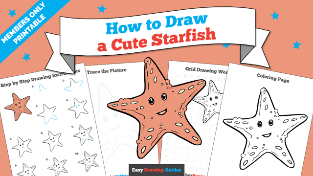 download a printable PDF of Cute Starfish drawing tutorial