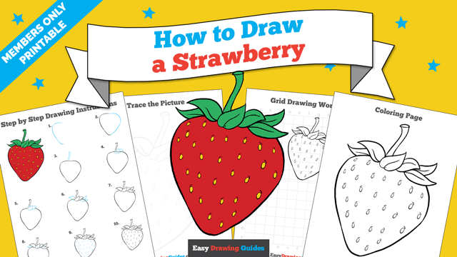 download a printable PDF of Strawberry drawing tutorial