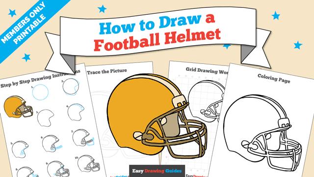 download a printable PDF of Football helmet drawing tutorial