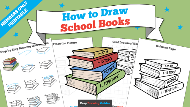 download a printable PDF of School Books drawing tutorial