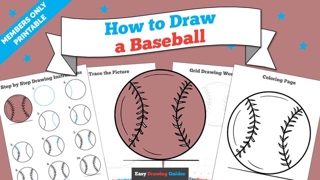 download a printable PDF of Baseball drawing tutorial