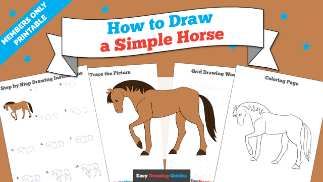 download a printable PDF of Simple Horse drawing tutorial