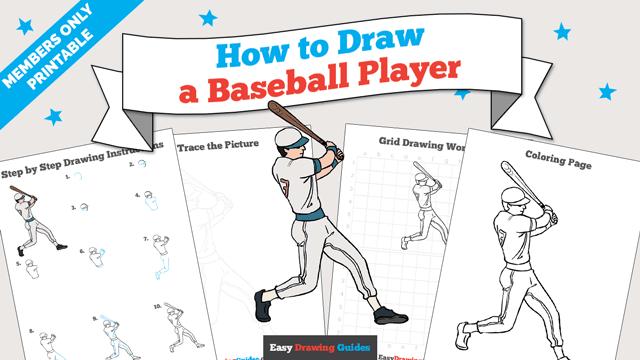 download a printable PDF of Baseball Player drawing tutorial
