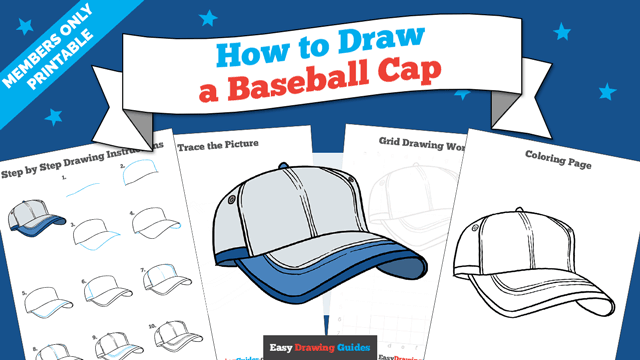 download a printable PDF of Baseball Cap drawing tutorial