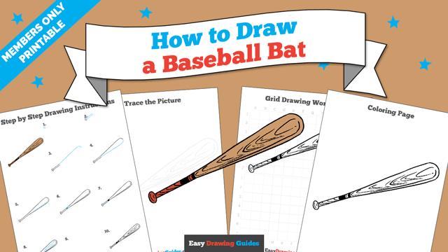 download a printable PDF of Baseball Bat drawing tutorial