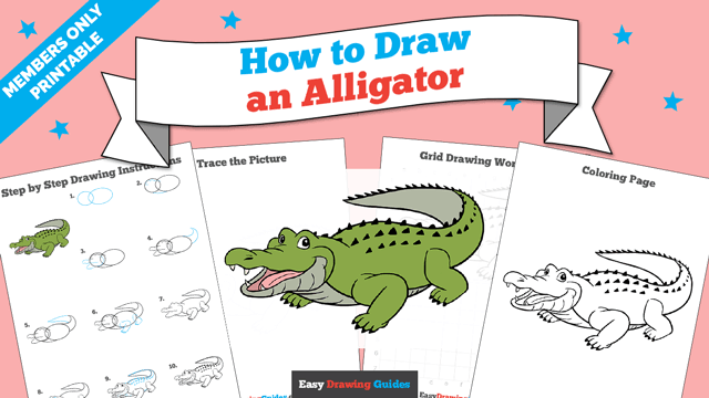 Printables thumbnail: How to draw an Alligator