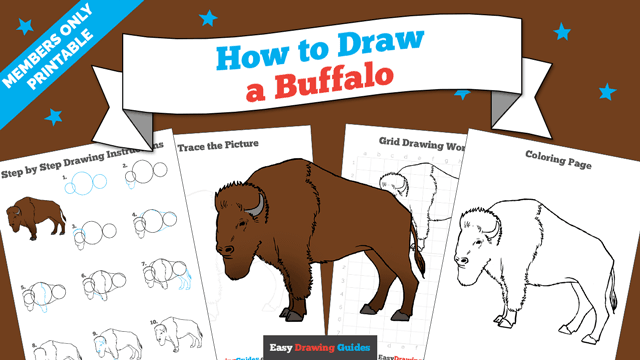 Printables thumbnail: How to draw a Buffalo