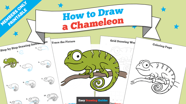 Printables thumbnail: How to draw a Chameleon