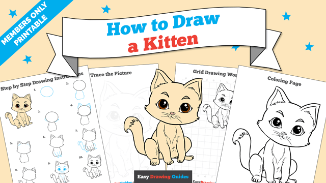 download a printable PDF of Kitten drawing tutorial