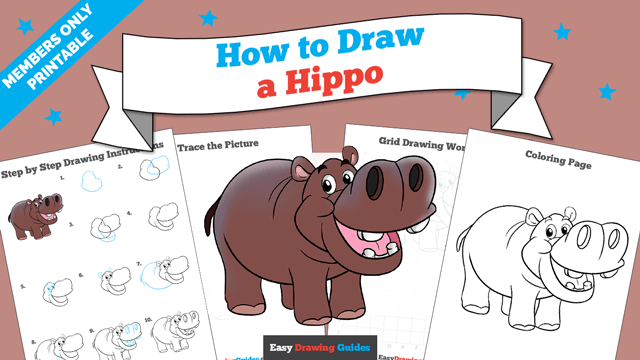 download a printable PDF of Hippo drawing tutorial