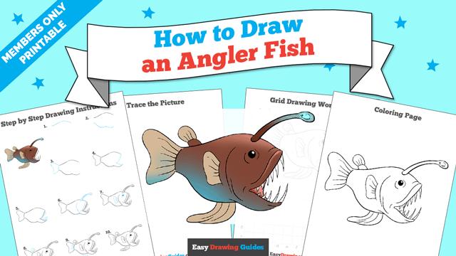 download a printable PDF of Angler Fish drawing tutorial