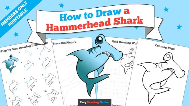 download a printable PDF of Hammerhead Shark drawing tutorial