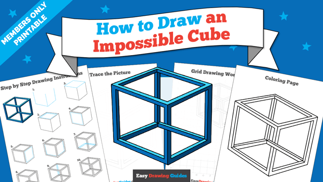 download a printable PDF of Impossible Cube drawing tutorial