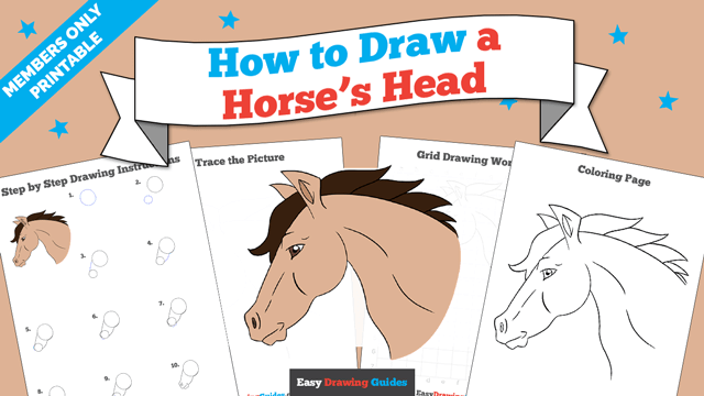 download a printable PDF of Horse Head drawing tutorial