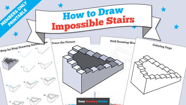 download a printable PDF of Impossible Stairs drawing tutorial