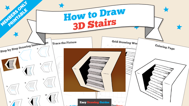 download a printable PDF of 3D Stairs drawing tutorial