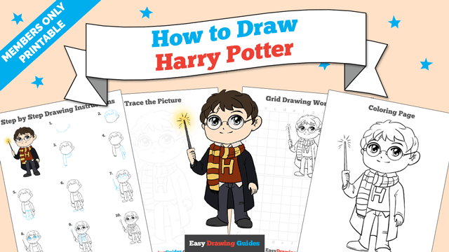download a printable PDF of Harry Potter drawing tutorial