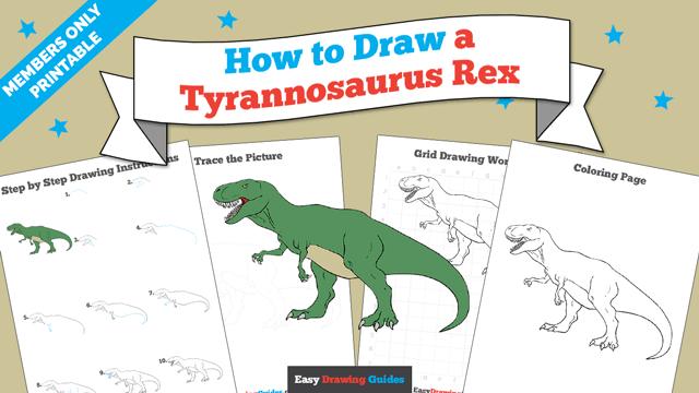 Printables thumbnail: How to draw a Tyrannosaurus Rex