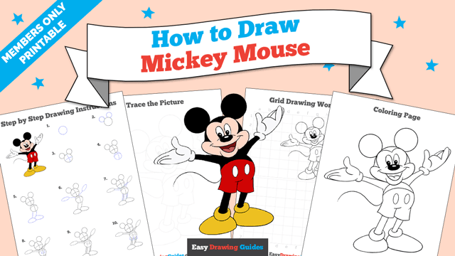 download a printable PDF of Mickey Mouse drawing tutorial