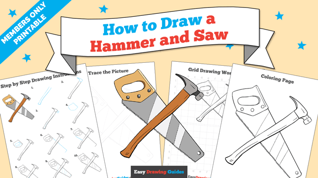 Printables thumbnail: How to draw a Hammer and Saw