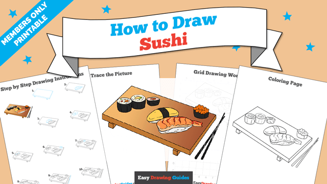 download a printable PDF of Sushi drawing tutorial