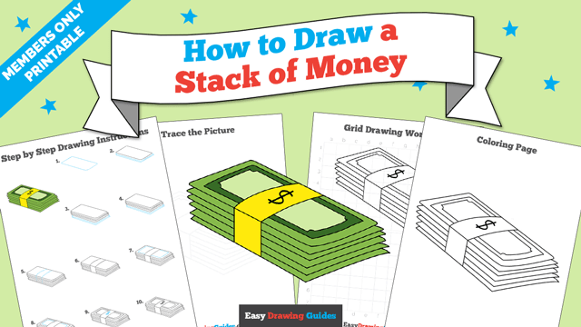 download a printable PDF of Stack of Money drawing tutorial